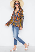 Load image into Gallery viewer, Rust Multi V-neck Stripe Geo Print Long Sleeve Top