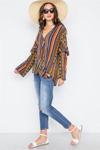 Rust Multi V-neck Stripe Geo Print Long Sleeve Top