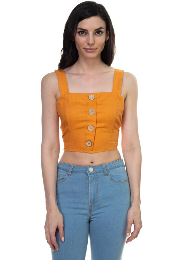 Exposed Back Sleeveless Cropped Top