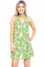 Load image into Gallery viewer, Hawaiian Leaf Print, Sleeveless, A-line Dress
