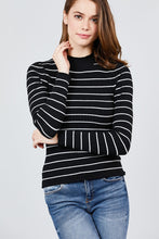 Load image into Gallery viewer, Long Sleeve Mock Neck Stripe Rib Sweater Top