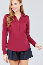 Load image into Gallery viewer, 3/4 Roll Up Sleeve Front Two Pocket W/button Detail Stretch Shirt