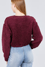 Load image into Gallery viewer, Long Dolman Sleeve Round Neck Toggle Elastic Hem Faux Fur Top