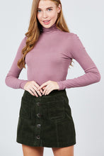 Load image into Gallery viewer, Long Sleeve Shirring Turtle Neck Rib Knit Top