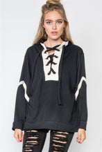 Load image into Gallery viewer, Knit Hooded Lace-up Sweater