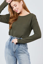 Load image into Gallery viewer, Long Sleeve Round Neck Shoulder Button Detail Brushed Hacci Top