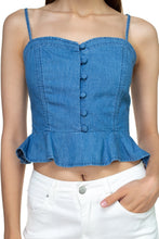 Load image into Gallery viewer, Denim Button Down Ruffle Crop Top