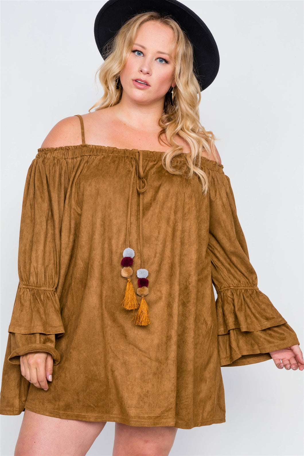 Plus Size Faux Suede Mini Dress