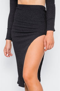 Knit Ribbed Two Piece Crop Top Skirt Set