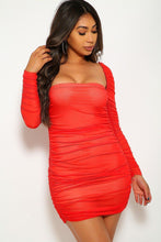 Load image into Gallery viewer, Mesh Ruched Bodycon Tube Dress