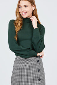 Long Sleeve Turtle Neck Rib Knit Top