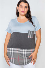 Load image into Gallery viewer, Plus Size Charcoal Blue Casual Combo Knit Top