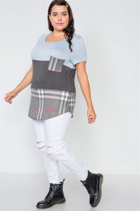 Plus Size Charcoal Blue Casual Combo Knit Top