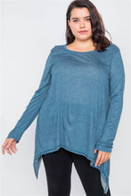 Load image into Gallery viewer, Plus Size Solid Shark Bite Raw Hem Top