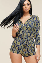 Load image into Gallery viewer, Multi Color Snake Print 3/4 Sleeve Romper