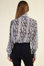 Load image into Gallery viewer, Snake Skin Tie Neck Top