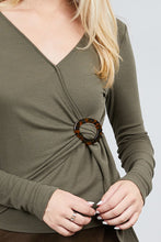 Load image into Gallery viewer, Long Sleeve Deep V-neck Side Buckle Detail Rib Knit Top