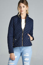 Load image into Gallery viewer, Quilted Padding Jacket With Suede Piping Details
