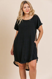 Linen Blend Short Ruffle Sleeve Round Neck Dress