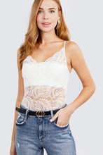 Load image into Gallery viewer, W neck w/scallop detail cami lace bodysuit
