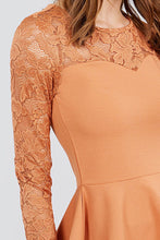 Load image into Gallery viewer, Long Sleeve Round Neck Lace Detail Peplum Knit Top