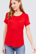 Load image into Gallery viewer, Short Raglan Sleeve Round Neck W/pocket Rayon Spandex Top