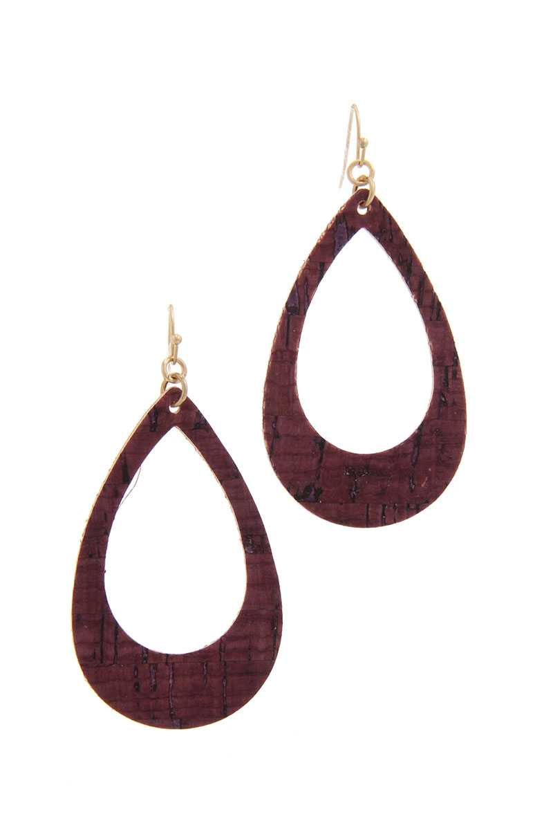 Cut Out Cork Teardrop Shape Drop Earring