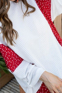 Round Neck 3/4 Rolled Up Sleeve Contrast Woven Heart Print Knit Top