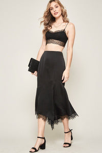 A Solid Woven Midi Skirt