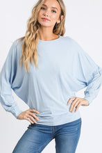 Load image into Gallery viewer, Dolman Long Sleeve Ribbed Top With Banded Hem