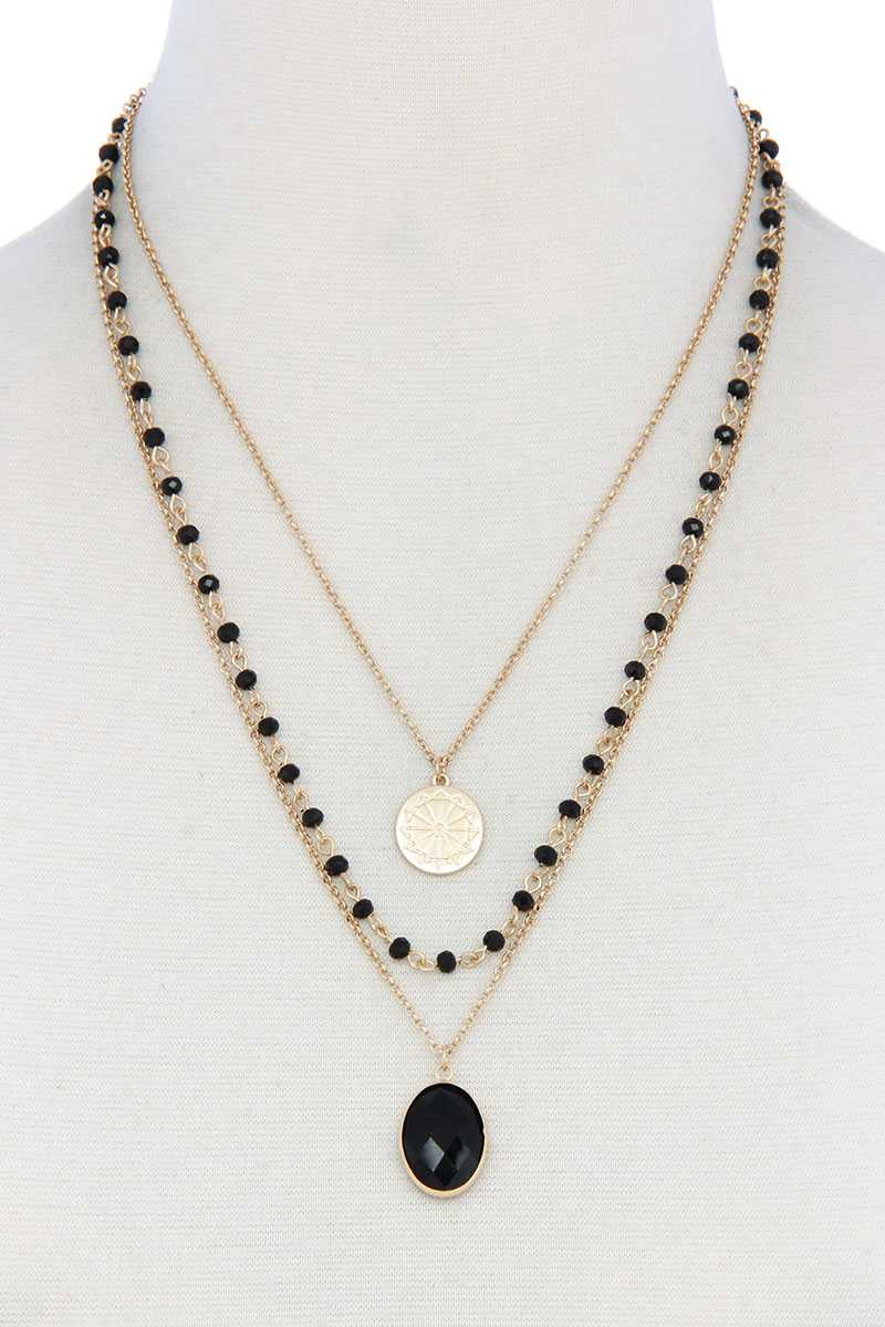 Oval Beaded Layered Necklace