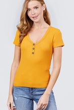 Load image into Gallery viewer, Short Sleeve V-neck W/button Detail Rib Knit Top