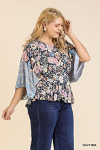 Load image into Gallery viewer, Floral Scarf Mixed Print Kimono Sleeve Round Neck Peplum Hem Top