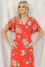 Load image into Gallery viewer, Spring Floral Print Short Bell Flyaway Sleeve Faux Wrap Maxi Dress