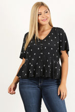 Load image into Gallery viewer, Plus Size Printed Short Sleeve Top