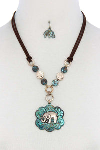 Elephant Pendant Hammered Coin Suede Necklace