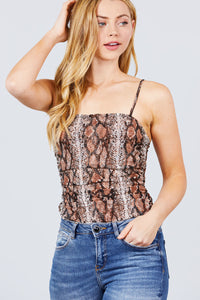 Side Shirring Print Mesh Cami Bodysuit