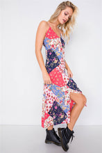 Load image into Gallery viewer, Multi Floral Center Slit V-neck Sun Midi Dress