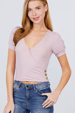 Load image into Gallery viewer, Short Puff Sleeve Surplice Neckline W/side Button Detail Rib Knit Top