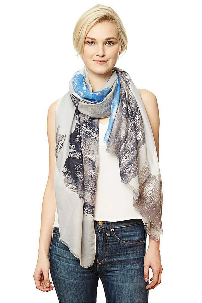 Brush Stroke Print Scarf