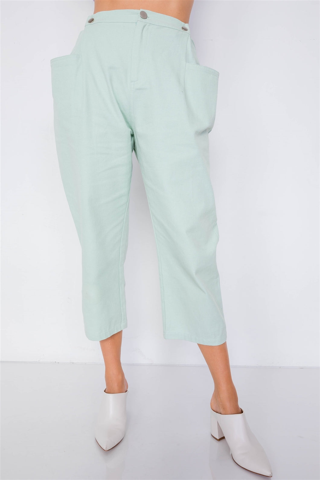 Pastel Chic Solid Ankle Wide Leg Adjustable Snap Waist Pants