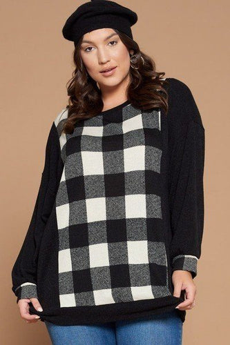 Plus Size Buffalo Plaid Check Contrast Pullover Tunic Top