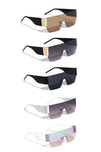 Modern Metal Rimless Flat Top Shield Sunglasses