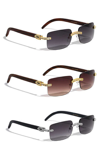 Trendy Metal Rhinestone Rimless Square Sunglasses