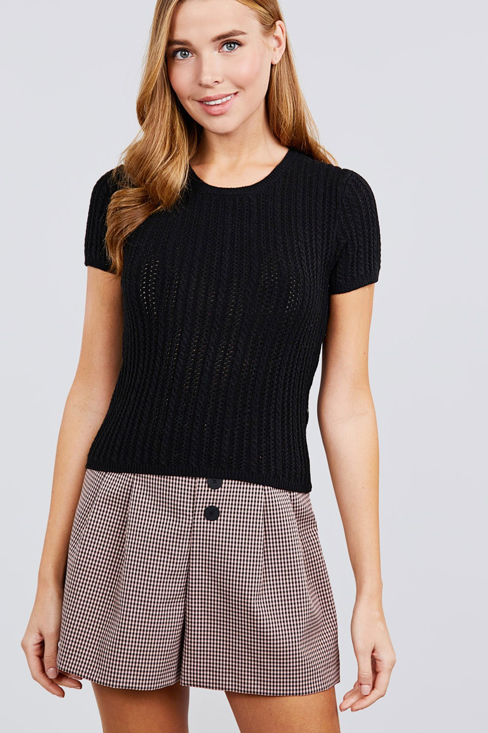 Short Slv Crew Neck Pointelle Sweater Top