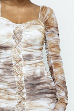 Load image into Gallery viewer, Tie Dyed Mesh Mini Dress W/ Lace Up Details