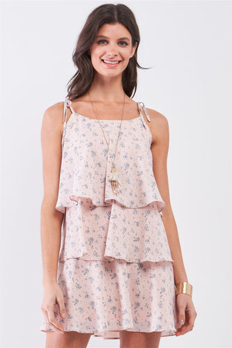 Blush Floral Print Sleeveless Self-tie Shoulder Strap Detail Layered Flounce Mini Dress