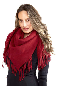 Solid Color Blanket Scarf With Fringes