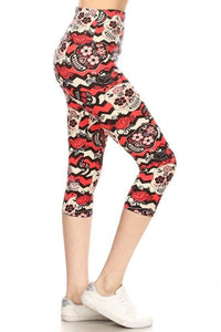 Yoga Style Banded Lined Sugar Skull Printed Knit Capri Legging With High Waist