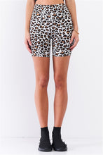 Load image into Gallery viewer, Leopard Print High Waisted Fitted Yoga Biker Shorts